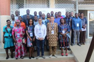 Group photo of technical workshop participants outside the WASCAL Competence Center in Ouagadougou.